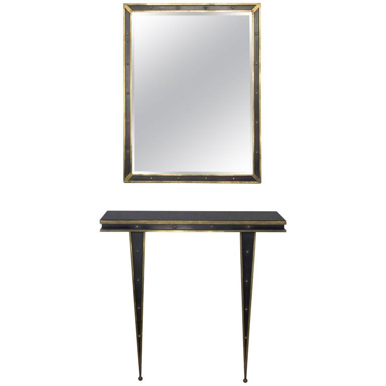 Mid-Century Italian Console and Mirror by Charles PiGuet