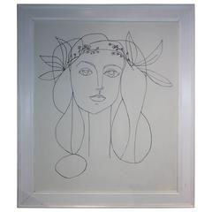 Framed Signed Large Drawing on Canvas