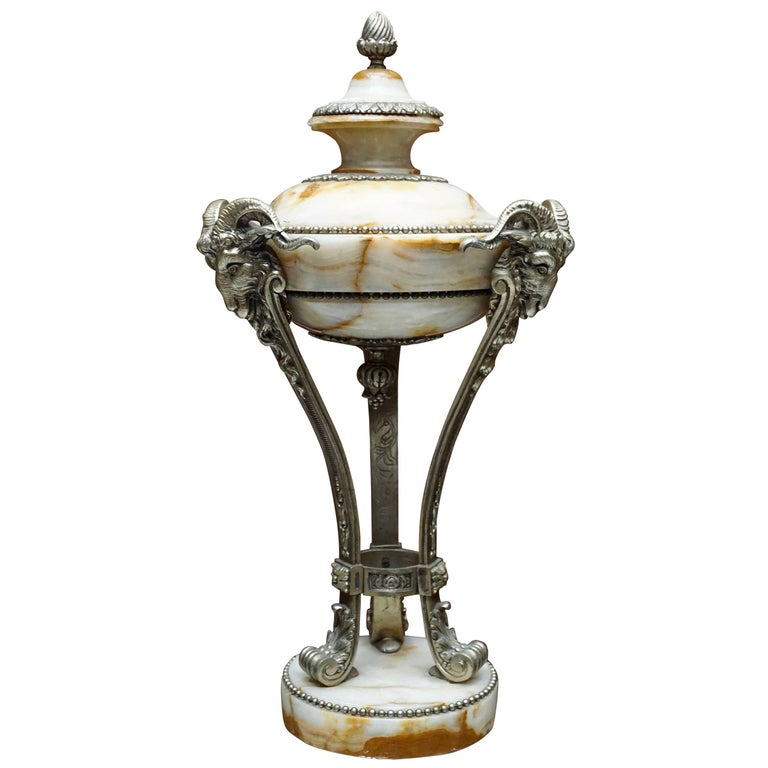 A Nice Pair of Onyx and Silvered Bronze Ornamental Vases For Sale