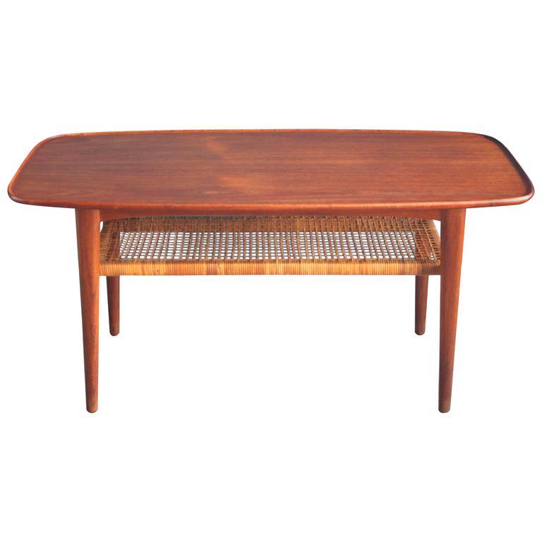 Coffee Table 1950s: Danish Teak Coffee Table With Magazine Rack, 1950s At 1stdibs