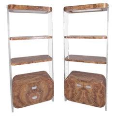 Pair Modern Burlwood & Lucite Bookcases after Milo Baughman