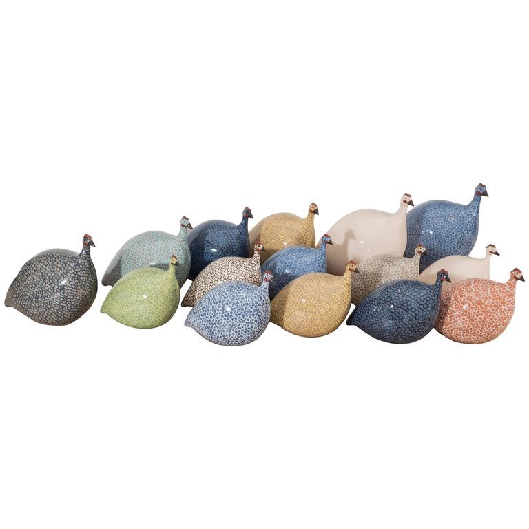 Assorted Ceramic Guinea Hens For Sale