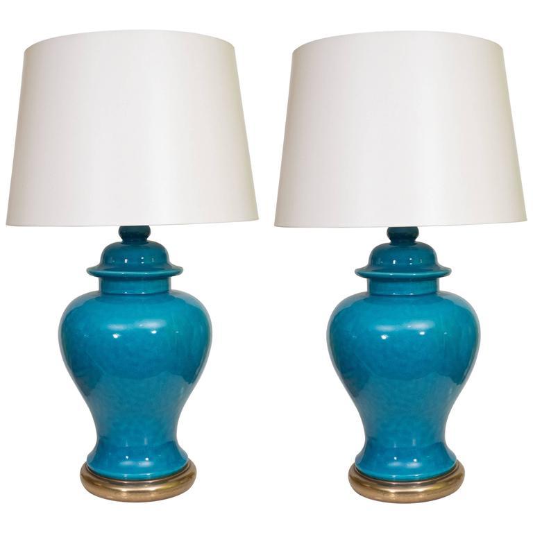 Pair of Mid-Century Ceramic Blue Lamps