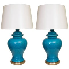 Pair of Mid-Century Ceramic Blue Lamps