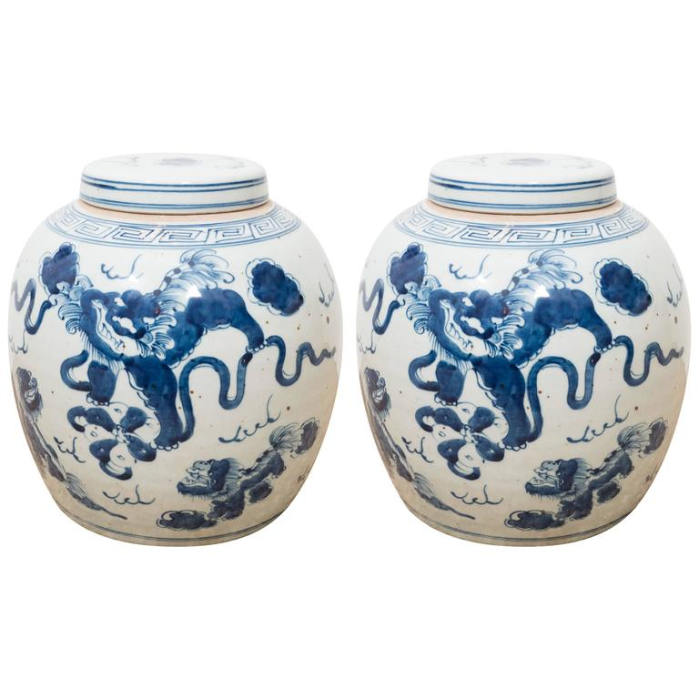 Pair of Blue and White Chinese Export Ginger Jars 1