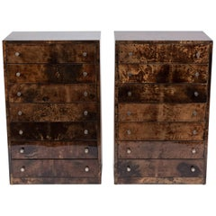 Pair of Aldo Tura Lacquered Goatskin Chests