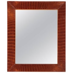 Mid-Century French Alligator Mirror with White Contrast Stitching