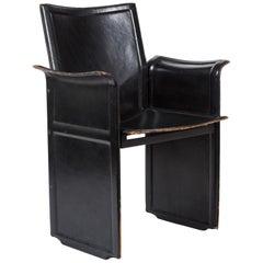Midcentury Italian Black Leather Chair