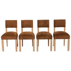 Set of Four Mid-Century French Limed Oak and Velvet Chairs