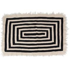 Hand-Loomed Swedish Black and White Wool Rug