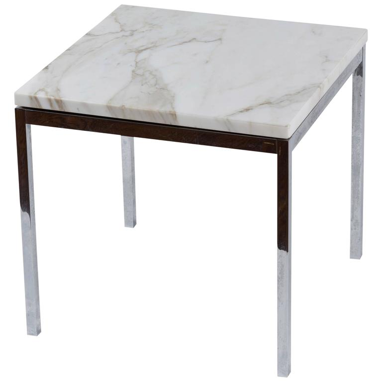 American Knoll Style Chrome And Marble End Table, Circa 1950 1