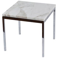 American Knoll-Style Chrome and Marble End Table, circa 1950