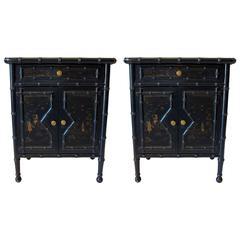 Pair of Ebonized Asian Cabinets