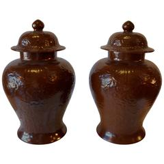 Pair of Chocolate Cachepots