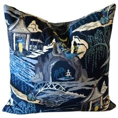 Indigo Nights Toile Pillow
