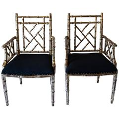 Set of Two or Four Bamboo Armchairs