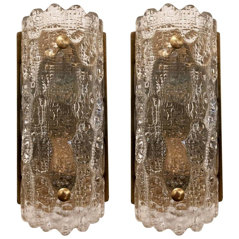 Pair of Orrefors Fagerlund Swedish Glass, 1950s Wall Lights