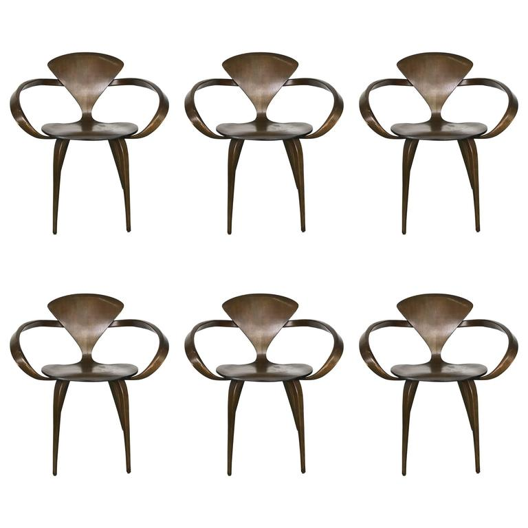 Six Walnut and Birch Vintage Cherner Armchairs for Plycraft 1