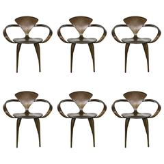 Six Walnut and Birch Vintage Cherner Armchairs for Plycraft