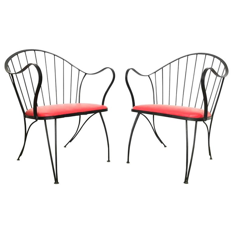 Pair of Dramatic Woodard Lounge Chairs For Sale
