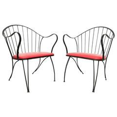 Pair of Dramatic Woodard Lounge Chairs