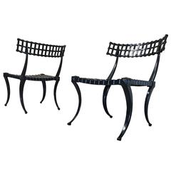 Pair of Klismos Cast Aluminium Chairs by Thinline