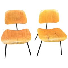 Pair of Early Charles Eames DCM Dining Chairs by Herman Miller