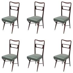 Six Italian Dining Chairs Mid Century Period, Design Ico Parisi, Green Skai