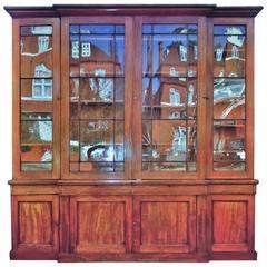 Georgian Mahogany Break Fronted Library Bookcase