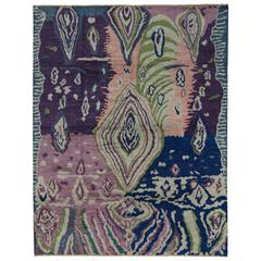 Contemporary Moroccan Style Rug with Abstract Psychedelic Design