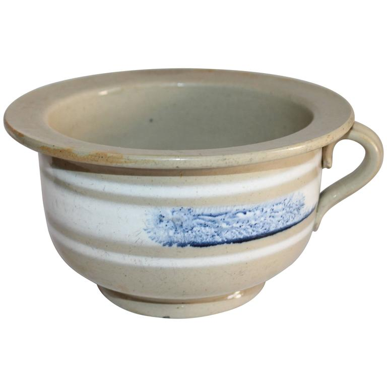 Rare 19th Century Yellow Ware Mocha Seaweed Potty
