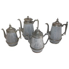 Collection of Rare 19th Century Granite and Pewter Goose Neck Coffee Pots