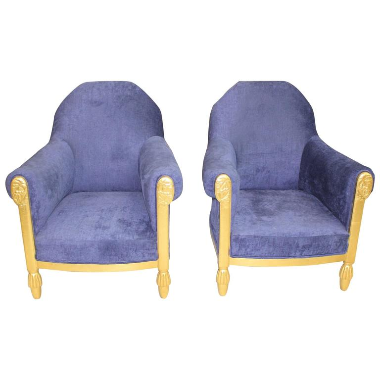 French Art Deco Pair of Armchairs Giltwood by Paul Follot, circa 1920s