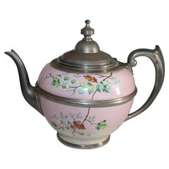 Rare 19th Century Painted Enamel and Pewter Tea Pot