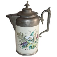 Rare Early 19th Century Enamel Decorated Pewter Coffee Pot