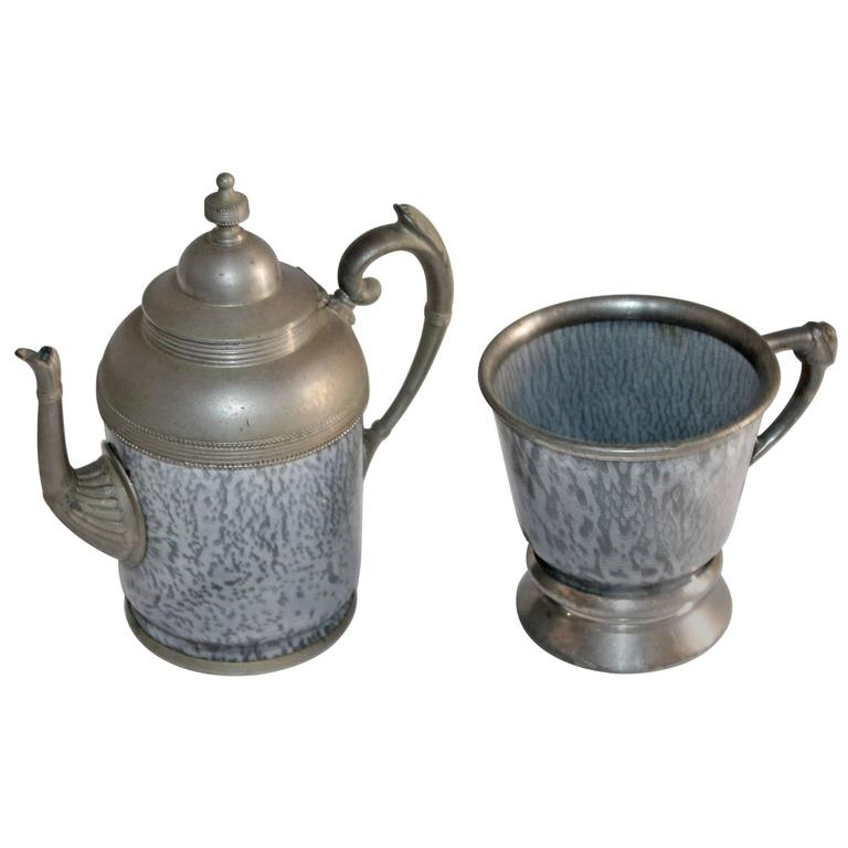 Rare 19th Century Granite and Pewter One Cup Tea Pot and Mug