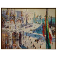 Vintage Vivid Venice Piazza San Marco Painting Signed Cyro Armand Ca 1930
