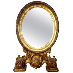 19th Century Antique Italian Baroque Style Oval Gold Gilded Mirror
