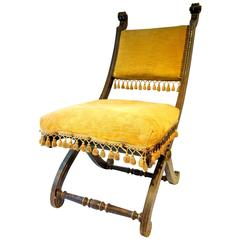 Antique Italian Renaissance Boudoir or Bedroom Chair Circa 1860