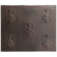 Large French Renaissance Antique Fireback in Iron, 16th Century, France