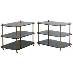 Pair of Black Lacquered Three-Tiered Side Tables