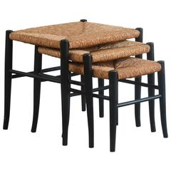 Set of Three Wicker and Black Nesting Tables