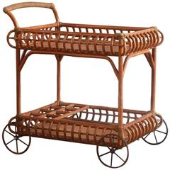 Wicker Bar Cart with Metal Wheels