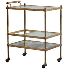 Brass Bar Cart on Casters with Smoked Mirror