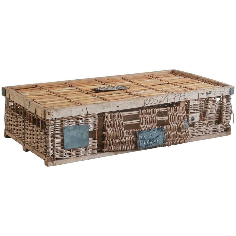 Woven Pigeon Crate with Painted and Metal Details For Sale