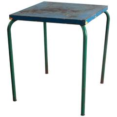 Tall Metal Blue and Green Painted Table