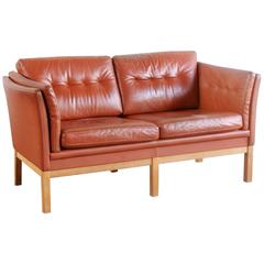Danish Leather Two-Seat Settee with Oak Frame