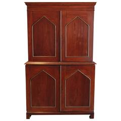 Mahogany Neo-Gothic Linen Press Cabinet with Brass Inlay