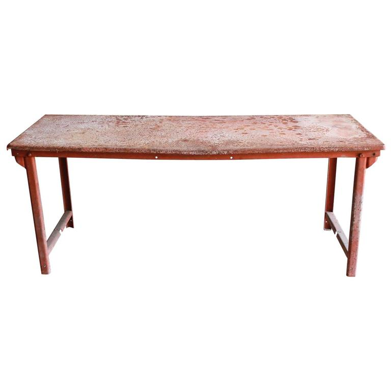 Red Work Table with Rusted Pattina 1