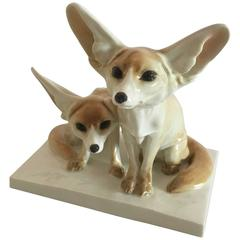 Meissen Figurine of Two Prairie Foxes
